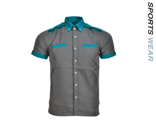 Arora Corporate Shirt Mens Polysoft -Charcoal/Turquoise